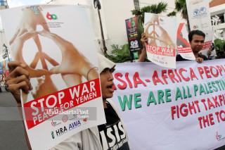 File: Protes Pengemboman Kedutaan RI di Yaman