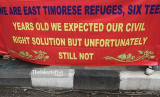File: Protes Komite Nasional Korban Politik Timor Timur