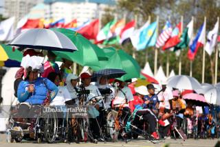Sejumlah atlet panahan Asian Para Games 2018 berlaga dalam babak kualifikasi