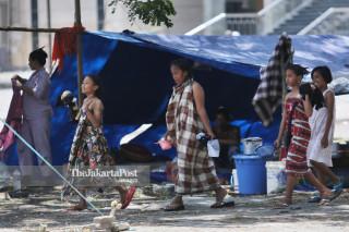 pengungsian di lapangan depan Masjid Agung Darussalam, Palu, Sulawesi Tengah