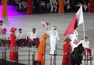 -Defile Atlet Qatar dalam Upacara Pembukaan Asian Para Games 2018