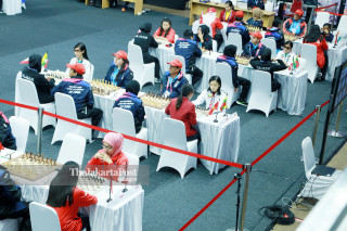Suasana pertandingan babak penyisihan catur Asian Para Games 2018