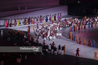 Kontingen Indonesia saat Upaca Pembukaan Asian Para Games 2018